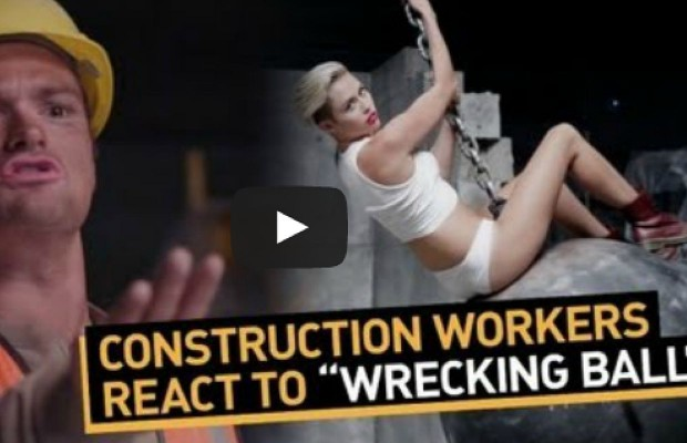 Construction Workers React to Miley