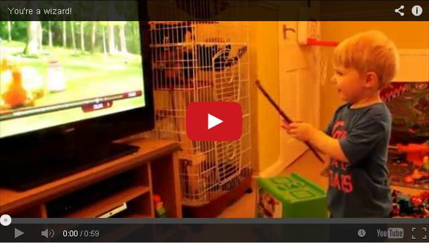 A Toddler Thinks He Can Control the TV with His Magic Wand